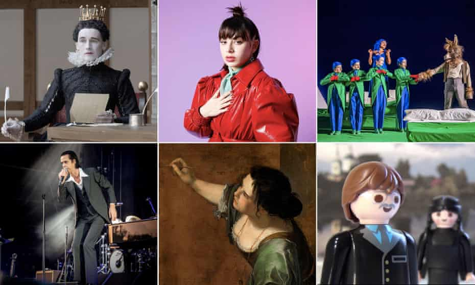Clockwise from top left: Mark Rylance in Twelfth Night, Charli XCX, English National Opera's A Midsummer Night's Dream, The Seagull to Go on YouTube, Artemisia Gentileschi's Self Portrait as the Allegory of Painting, Nick Cave.