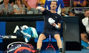 Murray celebrates winning the third set in his remarkable match against Bautista Agut. 'That was my maximum' he says. 'I could live with that being my last match.'
