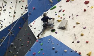 Isabel Choat's son climbing at High Sports in Brighton