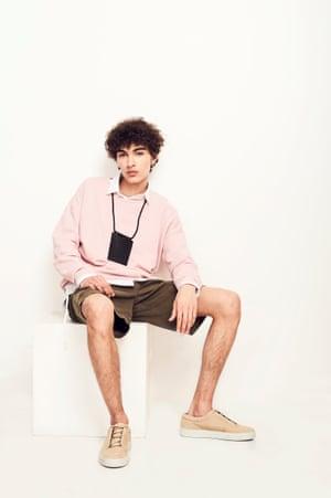 Park LifeLayer under a sweatshirt for a casual look. Shirt, £308, Craig Green, doverstreetmarket.com. Sweatshirt, £25, and pouch, £15.99, both zara.com. Shorts, £95, youmustcreate.com. Shoes, £79, cosstores.com