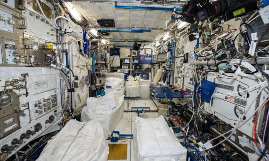 An interior view of the Columbus laboratory of the International Space Station photographed by an Expedition 41 crew member aboard the station in 2014.