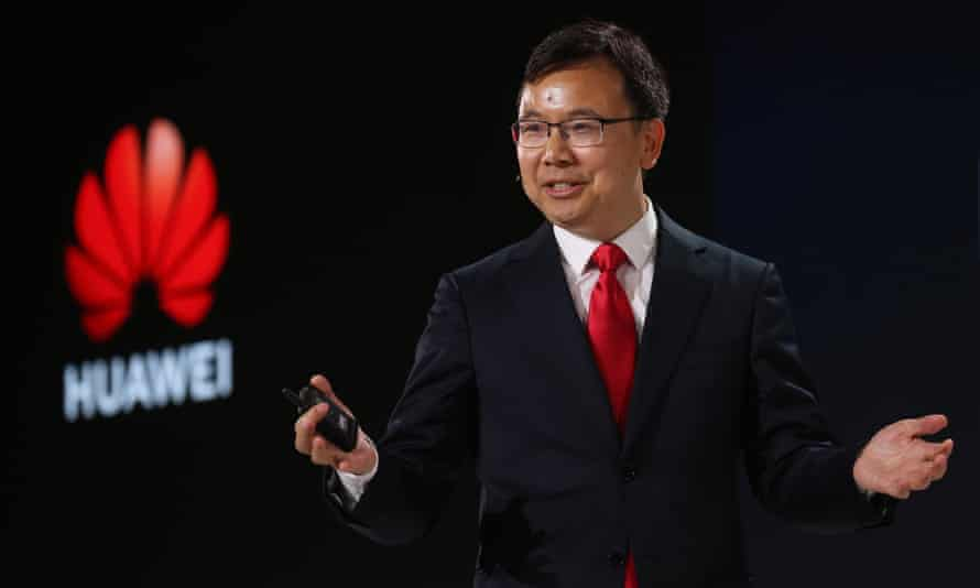 Huawei's 5G product line president, Yang Chaobin, speaks during a 5G event in London, February 2020