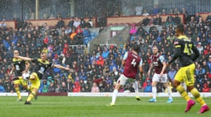 James Ward-Prowse shoots for Southampton as the rain falls at Turf Moor. Eight of the nine Premier League meetings between Burnley and Southampton have been goalless at half-time, the highest percentage of any Premier League fixture to have been played at least six times.
