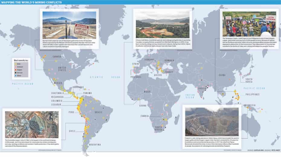 Mining conflicts around the world.