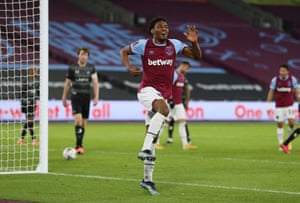 Oladapo Afolayan celebrates his debut goal for the Hammers.