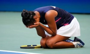Leylah Fernandez reacts after beating Elina Svitolina – her third victory over a seeded player at this year's tournament.