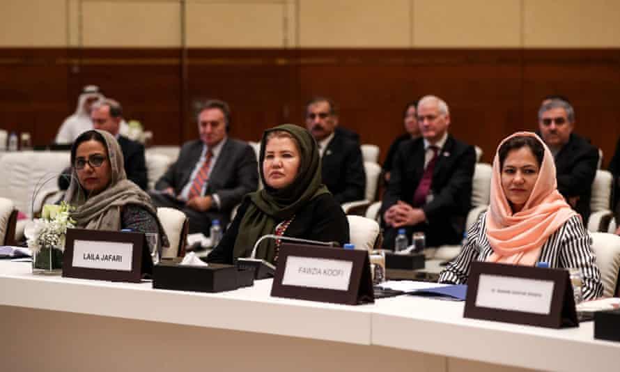 Fawzia Koofi at Afghanistan peace talks in Doha in 2019
