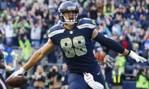 Jimmy Graham celebrates a touchdown with 21 seconds left in the game against the Houston Texans