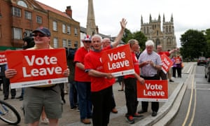 """a """"Vote Leave"""" rally in Selby, Britain June 22, 2016"""