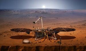 An artist's impression of Nasa's InSight probe on Mars