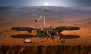 An artist's image shows the InSight lander, its sensors, cameras and instruments.