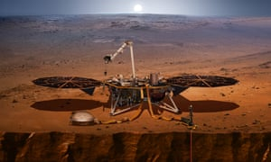 An artist's concept shows the InSight lander, its sensors, cameras and instruments, on Mars.