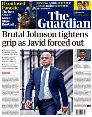 Guardian front page, Friday 14 February 2020