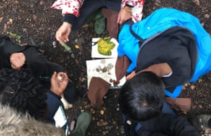 Children share treasures back at camp at a Wild Things forest school