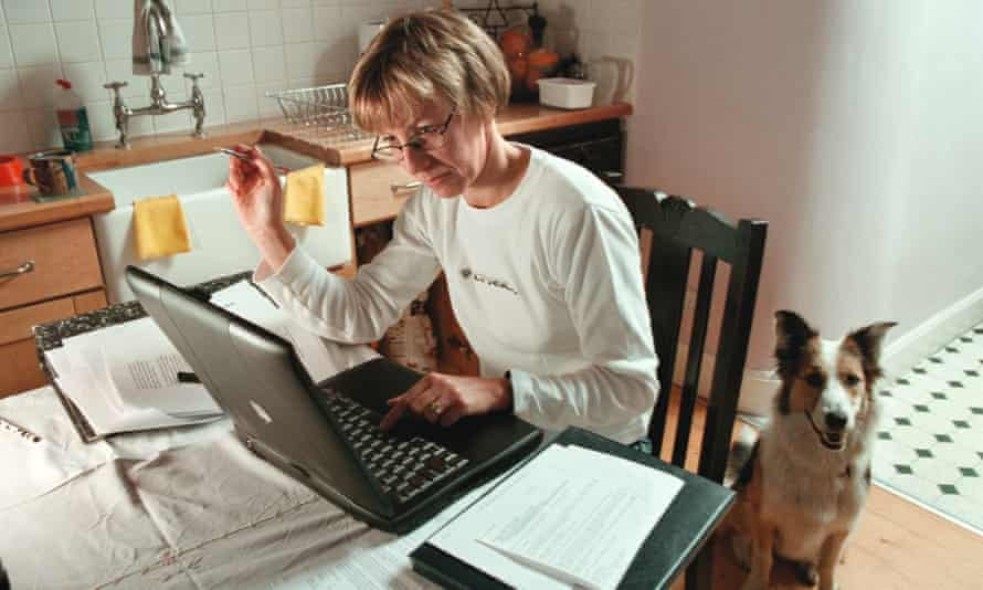 A secretary working from home,