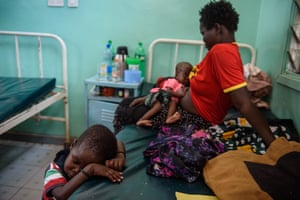 A mother and her children at the acute malnutrition ward in Lodwar hospital