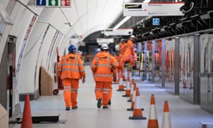 Construction workers at the Liverpool Street Crossrail station in February.