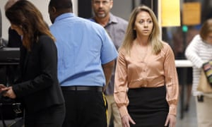Amber Guyger, right, arrives for jury selection in her murder trial in Dallas last week. Guyger was fired by the police department shortly after Jean's murder.