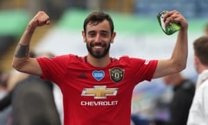 Bruno Fernandes of Manchester United celebrates after helping to guide his new club back into the Champions League.