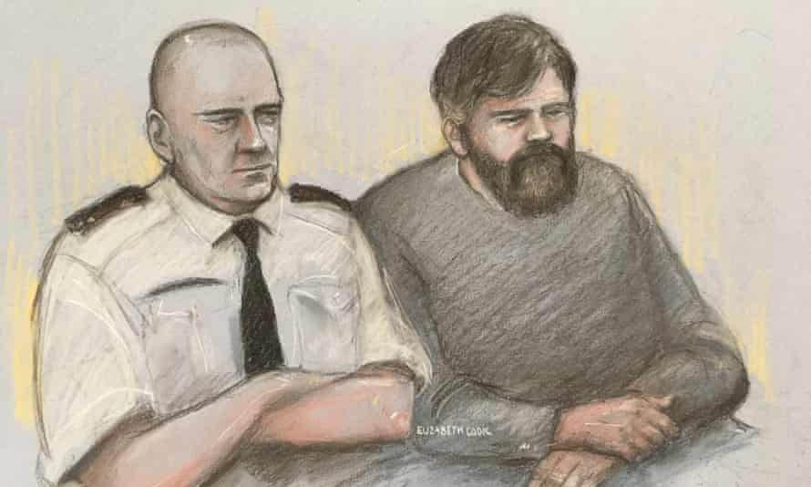 An artist's sketch of Carl Beech, known as Nick, at Newcastle crown court.