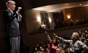 Lindsey Graham addresses the crowd during a town hall meeting Saturday in Clemson, South Carolina.
