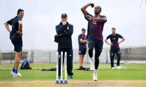 Jofra Archer during an England nets session at Old Trafford