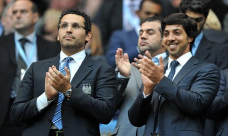 Sheikh Mansour, right, with chairman Khaldoon Al Mubarak, at the City of Manchester stadium.