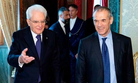 President Sergio Mattarella (left) and interim PM Carlo Cottarelli.