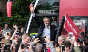 Jeremy Corbyn, Leader of the Labour Party, speaks to supporters in Huddersfield on the day the party launches its Manifesto