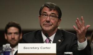 Defense secretary Ashton Carter speaks at a hearing on Capitol Hill.