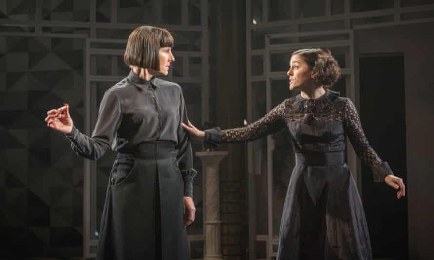 Tamsin Greig as Malvolia and Phoebe Fox as Olivia.