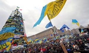 Hundreds of thousands of pro-EU Ukrainians protest in Maidan, Kiev, in December 2013.
