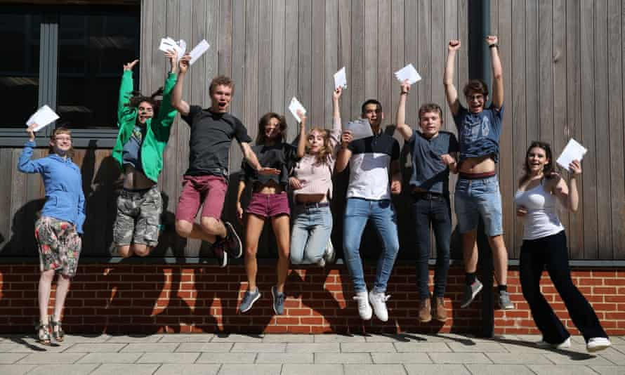 Students on A-level results day