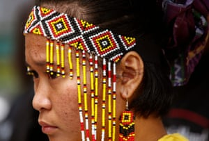 Quezon City, Philippines: A Manobo woman participates in a human rights rally on International Day of the World's Indigenous Peoples