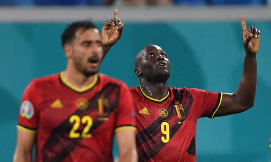 Romelu Lukaku celebrates scoring Belgium's second goal against Finland