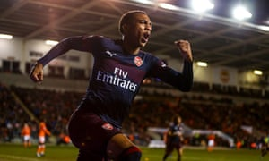 Joe Willock celebrates after scoring his second goal for Arsenal against Blackpool.