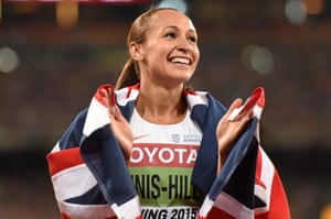 Jessica Ennis-Hill of Great Britain after winning the Women's Heptathlon 800m and the overall Heptathlon gold. IAAF World Athletics Championships Beijing 2015