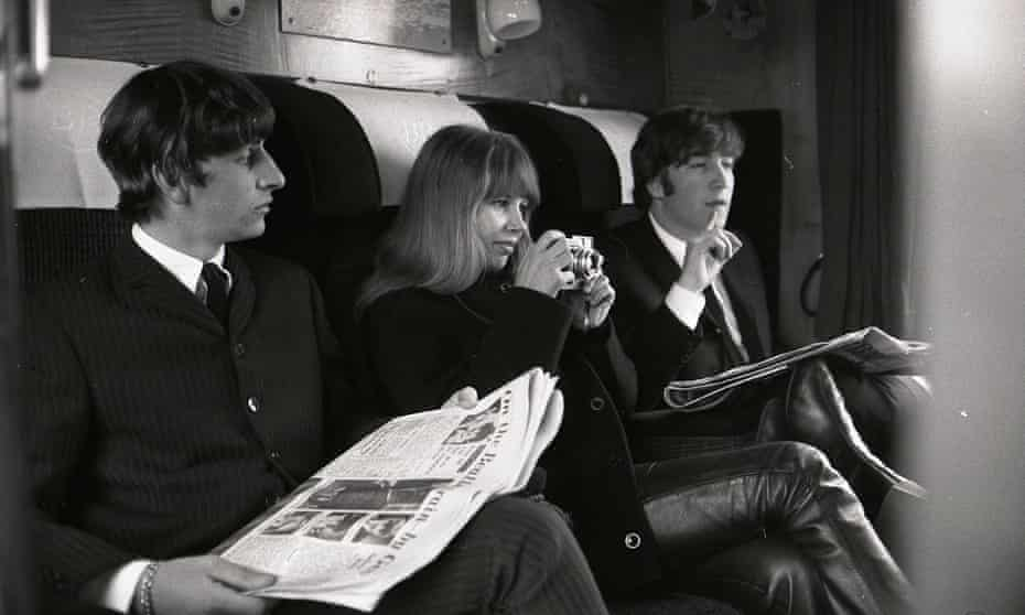 Astrid Kirchherr with Ringo Starr and John Lennon during the filming of A Hard Day's Night.