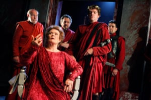 Janet Suzman as Volumnia and William Houston, second from right, as Coriolanus in Stratford in 2007.