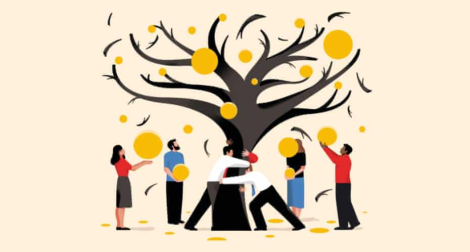 illustration by nathalie lees: people gathering the fruits of a tree representing a more democratic economic system