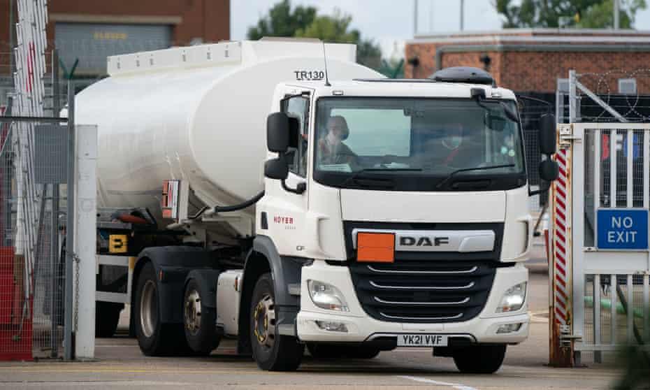 Petrol tanker leaves depot