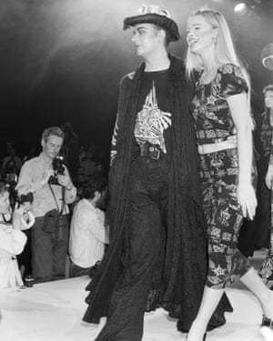 Culture Club singer Boy George modelling clothes on the catwalk at the Bodymap Fashion Show at the Duke of York barracks in Chelsea, 1985.