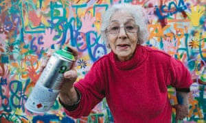 one of the 'graffiti grannies' whose work is included in the street art map of Lisbon