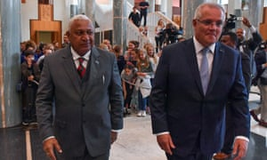 Australia's Prime Minister Scott Morrison and Fiji's Prime Minister Frank Bainimarama leave after a welcome ceremony at Parliament House in Canberra in September 2019.
