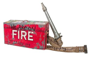 Karla Dickens Wiradjuri born 1967 We are on fire (Not in a sexy way) 2020 Goonellabah, New South Wales fibre-tipped pen on fire extinguisher Collection of the artist