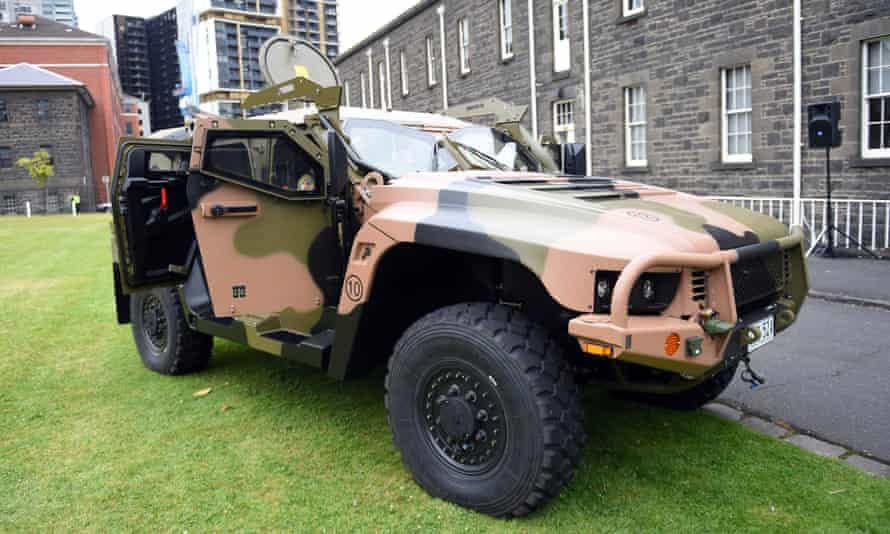 A Hawkei vehicle built in Bendigo by Thales
