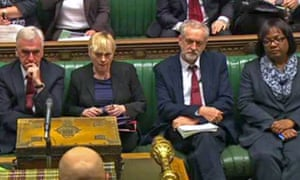 Angela Eagle, second left, on the Labour front bench with Jeremy Corbyn during a debate on the union bill.