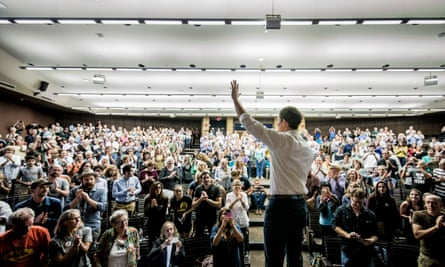 Beto O'Rourke, a Democrat who is running for Senate in Texas, at a town hall meeting.