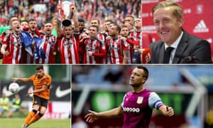 Clockwise from top left: newly promoted Sheffield United, Middlesbrough manager Garry Monk, Aston Villa captain John Terry and big-money Wolves signing Rúben Neves.