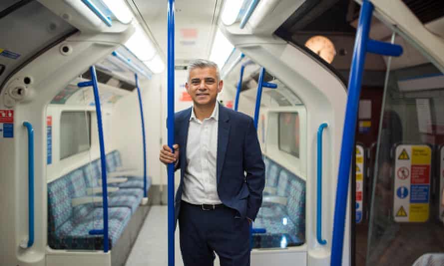 Sadiq Khan on a Victoria line train